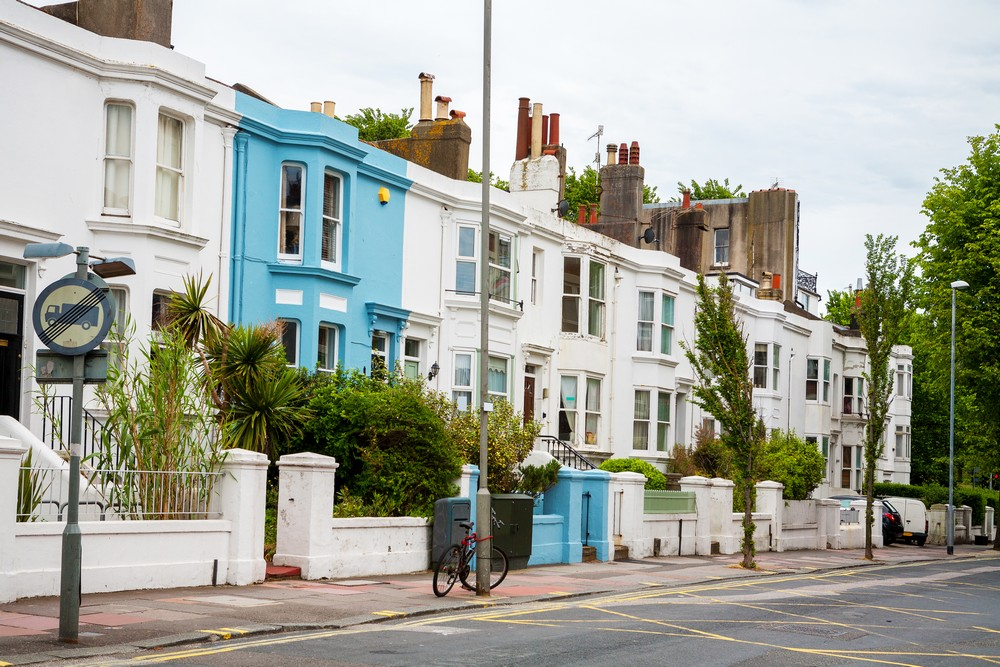 Typical town houses in Brighton. England, UK ©-Depositphotos.com/Arsty